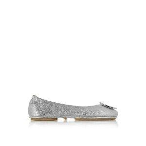 Tory Burch Minnie Travel Silver Smooth Metallic Leather Ballet Flat 5 (5 US | 2.5 UK | 35 EU) at FORZIERI