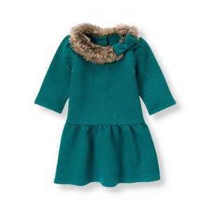 Baby Girl Teal Quilted Jacquard Dress at JanieandJack