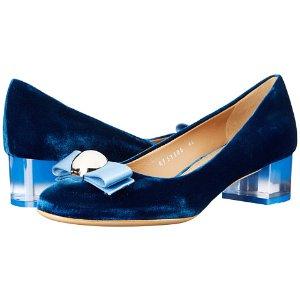 Salvatore Ferragamo Fiammetta Bleu Indien Velvet/Bleu Indien Satin - Zappos Luxury
