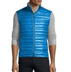$208 Burberry Brit Trowby Lightweight Quilted Down Vest, Blue Azure @ Neiman Marcus
