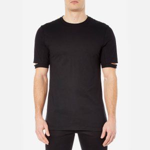 Helmut Lang Men's Standard Fit Cut Hem T-Shirt - Black - Free UK Delivery over £50