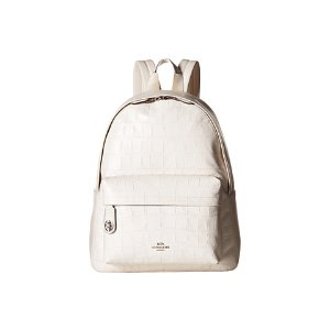 COACH Embossed Croc Campus Backpack SV/Chalk - 6pm.com