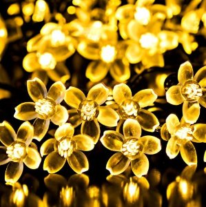 Y-ZONE Solar Christmas Blossom string Lighting 23ft 50 LED 8 Modes Warm White Flower Fairy Lights