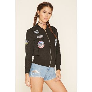 Route 66 Patched Bomber Jacket | Forever 21 - 2000195389