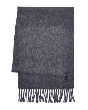 YVES SAINT LAURENT Embroidered Logo Wool Scarf @ Century 21