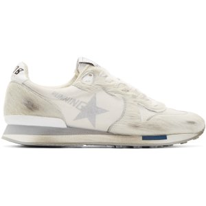 Golden Goose: White & Grey Limited Edition Distressed Calf-Hair Running Sneakers