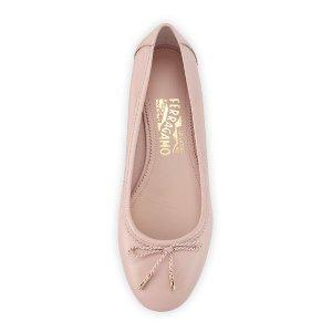 Salvatore Ferragamo Enea Leather Ballerina Flat, Bon Bon