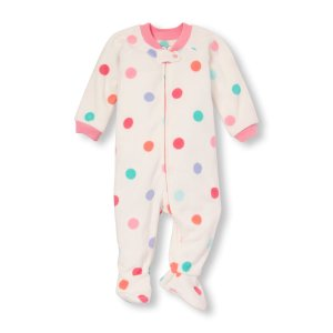 Baby And Toddler Girls Long Sleeve Dot Print Blanket Sleeper | The Children's Place