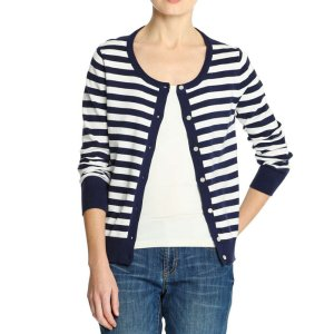 Stripe Cardi in Navy from Joe Fresh