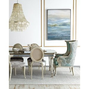 John-Richard Collection Gwyneth Dining Chair & Lisandra Antiqued-Mirrored Round Table