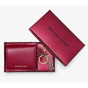 Jet Set Travel Leather Carryall Wallet and Key Chain Set | Michael Kors