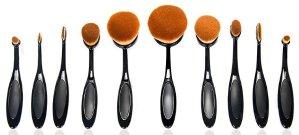 Bestidy Professional 10 Pcs Soft Oval Toothbrush Makeup Brush Sets