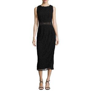 Jovani Sleeveless Check Lace Midi Dress, Black
