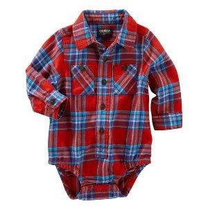 Baby Boy 2-Pocket Plaid Button-Front Bodysuit   OshKosh.com