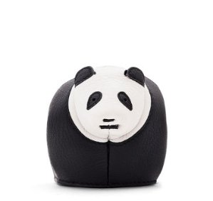 $380 Loewe Leather Panda Coin Purse, Black/White @ Neiman Marcus