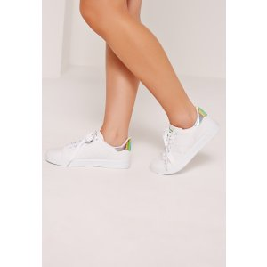 Holographic Reptile Tab Tennis Trainer White - Missguided