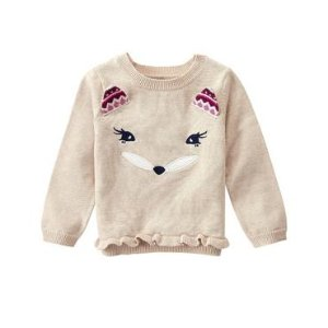 Toddler Girls Wheat Fox Face Sweater by Gymboree