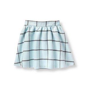 Baby Girl Light Sky Plaid Windowpane Skirt at JanieandJack