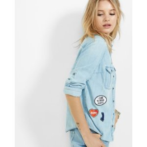 fitted patch denim shirt