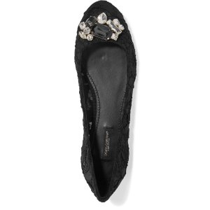 Embellished embroidered lace and mesh ballet flats | Dolce & Gabbana | US | THE OUTNET