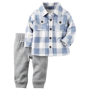 Baby Boy 2-Piece Sherpa-Lined Button-Front Top & Fleece Pant Set | Carters.com
