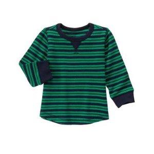 Toddler Boys Pine Green Stripe Striped Thermal Tee by Gymboree