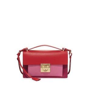 Salvatore Ferragamo Aileen Colorblock Leather Shoulder Bag, Sangria