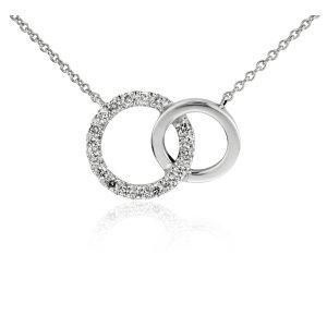 Mini Duet Circle Diamond Necklace in 14k White Gold | Blue Nile
