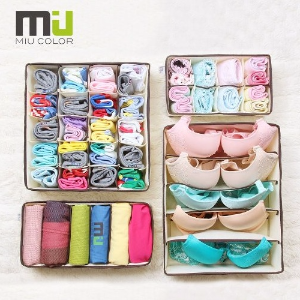 $11.99 MIU COLOR Collapsible Storage Boxes Bra Underwear Closet Organizer Drawer Divider 4 Set