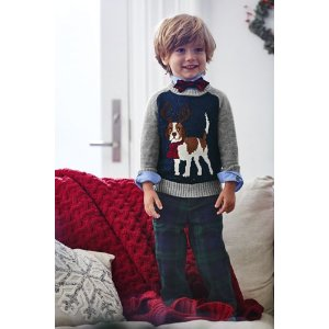 Boys Novelty Intarsia Crewneck Sweater from Lands' End