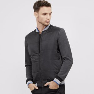 Quilted Bomber with Striped Tipping | Kenneth Cole