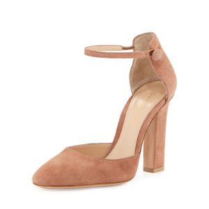 Gianvito Rossi Suede d'Orsay Ankle-Wrap Pump