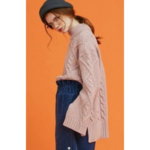 ANOTHER A Twisted Unbalance Slit Knit Top (pink)