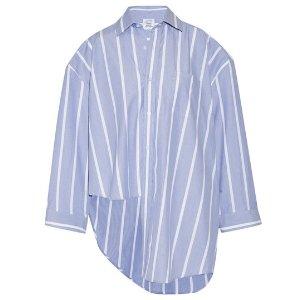 VETEMENTS Oversized asymmetric striped cotton-poplin shirt