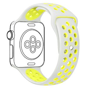 Amazon.com: OULUOQI 42mm Soft Silicone Replacement Band with Ventilation Holes for Apple Watch Nike+, Apple Watch Series 2, Series 1, Sport , Edition, S/M Size ( Silver / Volt Yellow ): Cell Phones &