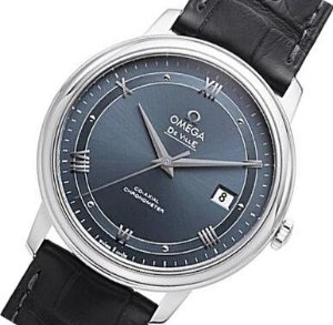 OMEGA De Ville Prestige Automatic Blue Dial Black Leather Men's Watch424.13.40.20.03.002