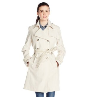 Lowest price! $39.26 Via Spiga Women's Double-Breasted Trench Coat with Belt