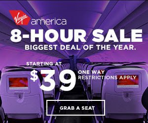 8-Hours Only! Celebratory Fares from $39+ One Way Biggest deal of the year @ Virgin America