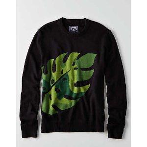AEO Palm Tree Crew Sweater, Bold Black