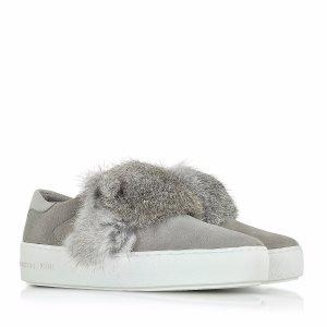 Michael Kors Maven Pearl Grey Rabbit Fur and Suede Sneaker 6.5M (6.5 US | 36.5 EU) at FORZIERI
