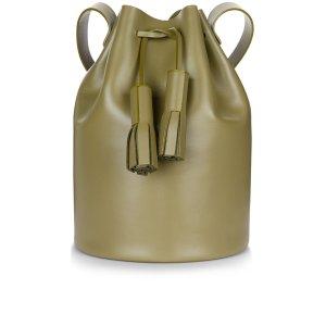 Olive Leather Tassel Bucket Bag | Building Block | Avenue32
