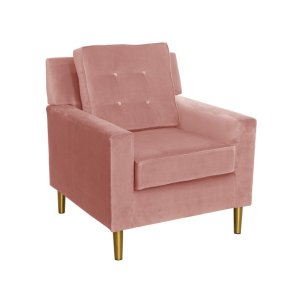 Aviva Velvet Chair, Rose