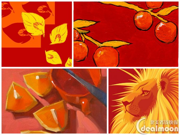 下面的四个小拼图,就是典型的analogous,红橙黄的搭配,看起来就比较