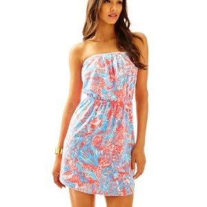 Pink Sun Ray Summer Siren Windsor Strapless Pull-On Dress