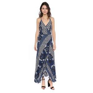 Two Arrows Printed Wrap Maxi Dress