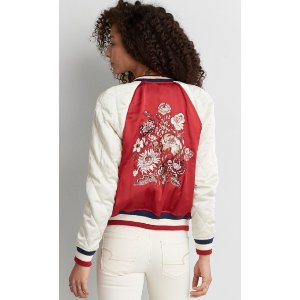AEO EMBROIDERED RAGLAN BOMBER JACKET