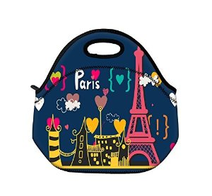 Schoolsupplies Red Paris Tower Insulated Neoprene Lunch Bag