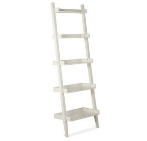 Leaning Ladder 5-Shelf Bookcase, White