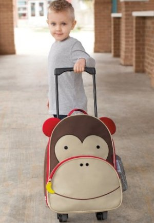 Skip Hop Zoo Little Kid and Toddler Travel Rolling Luggage Backpack, Ages 3+, Multi Marshall Monkey