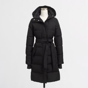 Petite long belted puffer jacket : Petites | J.Crew Factory